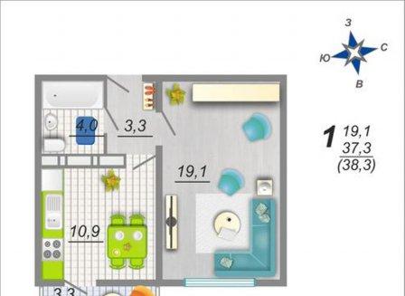 1-комнатная квартира, 38.30-Кв.м.