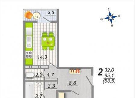 2-комнатная квартира, 68.50-Кв.м.