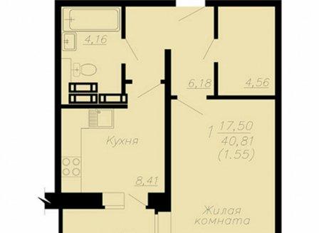 1-комнатная квартира, 42.36-Кв.м.