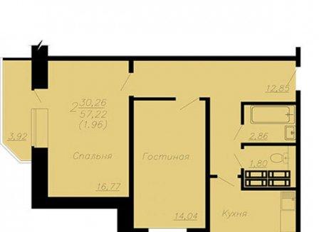 2-комнатная квартира, 59.18-Кв.м.