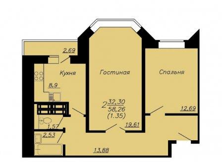 2-комнатная квартира, 59.61-Кв.м.
