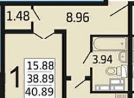 1-комнатная квартира, 40.89-Кв.м.