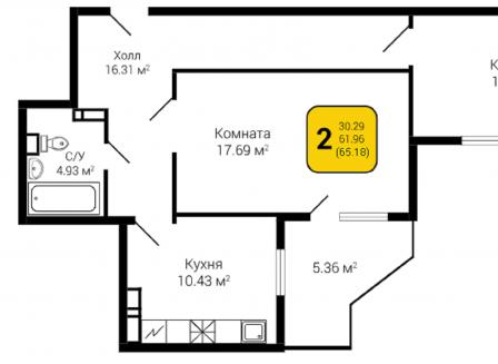 2-комнатная квартира, 65.18-Кв.м.