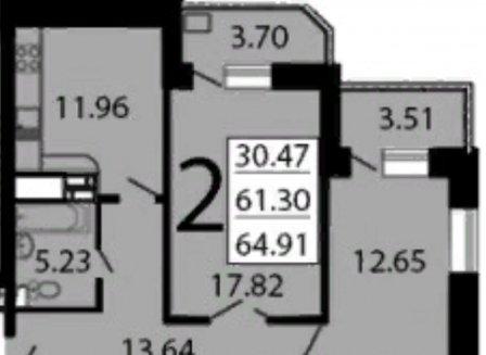 2-комнатная квартира, 64.78-Кв.м.