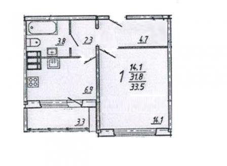 1-комнатная квартира, 33.50-Кв.м.