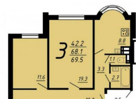 3-комнатная квартира, 69.80-Кв.м.