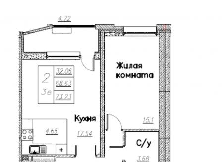 3-комнатная квартира, 73.23-Кв.м.