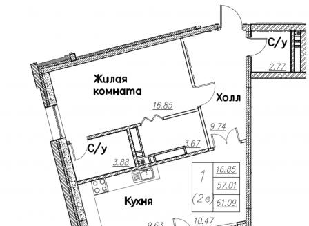 2-комнатная квартира, 61.09-Кв.м.