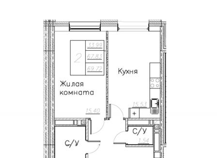 2-комнатная квартира, 69.83-Кв.м.