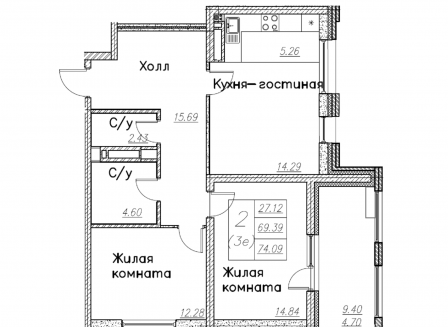 3-комнатная квартира, 74.09-Кв.м.