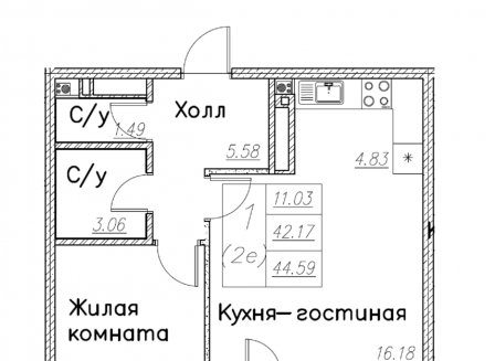 1-комнатная квартира, 44.59-Кв.м.