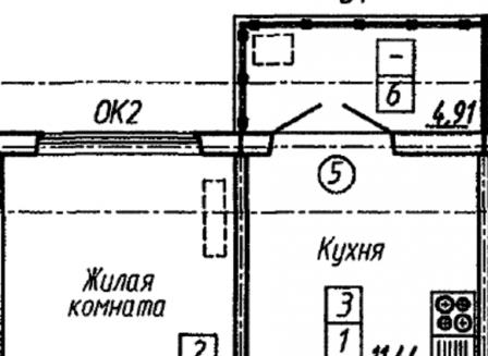 1-комнатная квартира, 41.98-Кв.м.