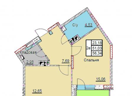 2-комнатная квартира, 56.34-Кв.м.
