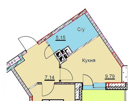 1-комнатная квартира, 40.33-Кв.м.