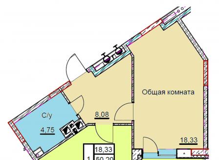 1-комнатная квартира, 53.62-Кв.м.