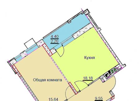 2-комнатная квартира, 66.38-Кв.м.