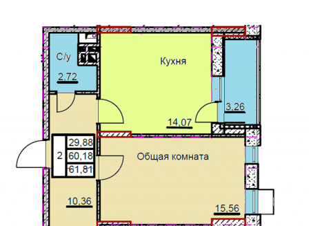 2-комнатная квартира, 61.81-Кв.м.