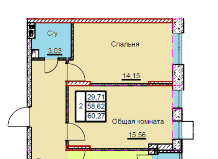 2-комнатная квартира, 60.27-Кв.м.