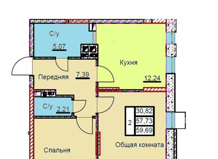 2-комнатная квартира, 59.69-Кв.м.