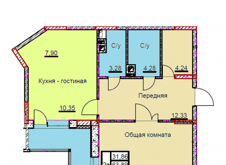 3-комнатная квартира, 67.04-Кв.м.
