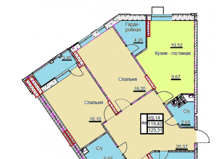 4-комнатная квартира, 123.31-Кв.м.