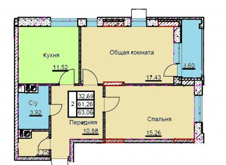 2-комнатная квартира, 63.06-Кв.м.