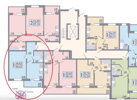 1-комнатная квартира, 36.62-Кв.м.
