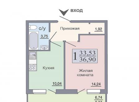 1-комнатная квартира, 36.90-Кв.м.