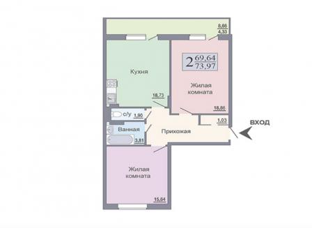 2-комнатная квартира, 73.97-Кв.м.