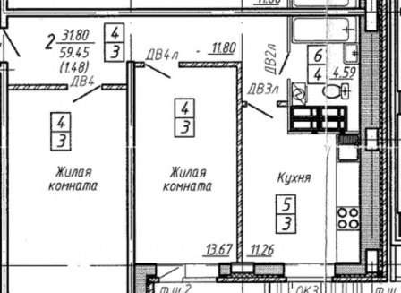 2-комнатная квартира, 60.94-Кв.м.