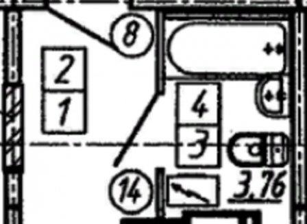 1-комнатная квартира, 21.35-Кв.м.