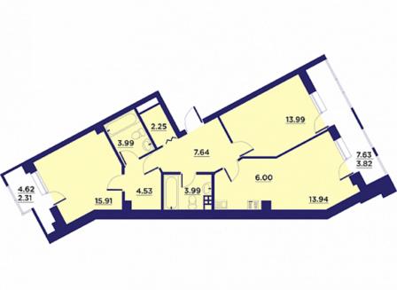 3-комнатная квартира, 79.00-Кв.м.