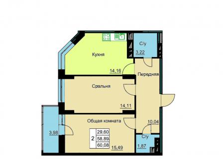 2-комнатная квартира, 60.08-Кв.м.