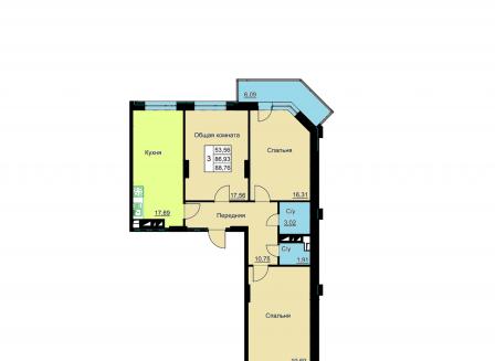 3-комнатная квартира, 88.76-Кв.м.