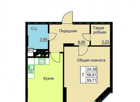 2-комнатная квартира, 59.71-Кв.м.