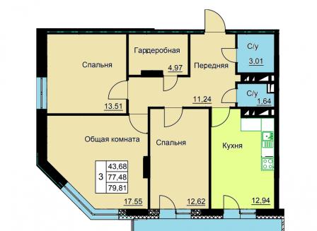 3-комнатная квартира, 79.81-Кв.м.