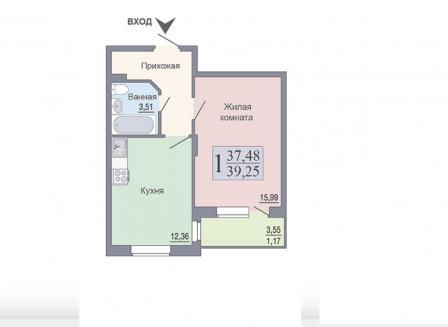 1-комнатная квартира, 39.25-Кв.м.