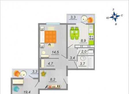 2-комнатная квартира, 67.60-Кв.м.