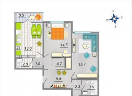 3-комнатная квартира, 86.90-Кв.м.