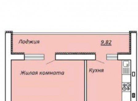 1-комнатная квартира, 49.00-Кв.м.