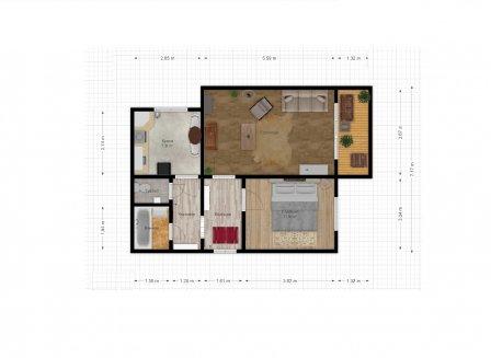 2-комнатная квартира, 51.90-Кв.м.