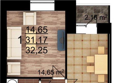 1-комнатная квартира, 32.25-Кв.м.