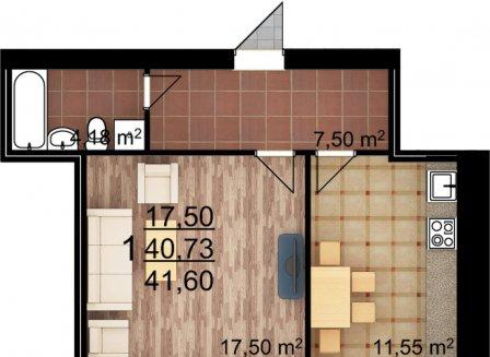 1-комнатная квартира, 41.60-Кв.м.