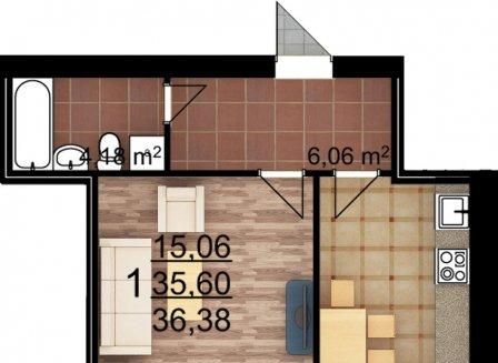 1-комнатная квартира, 36.38-Кв.м.