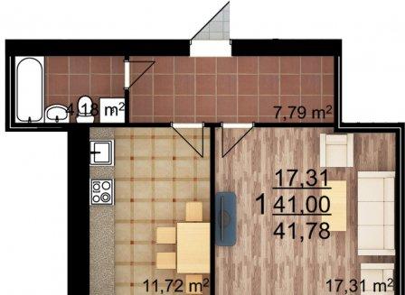 1-комнатная квартира, 41.78-Кв.м.