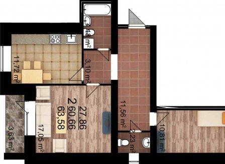 2-комнатная квартира, 63.58-Кв.м.