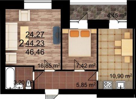 2-комнатная квартира, 46.46-Кв.м.