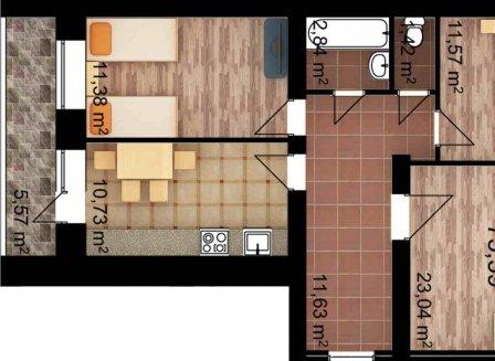 3-комнатная квартира, 75.39-Кв.м.