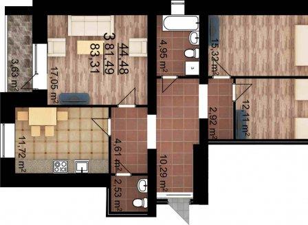 3-комнатная квартира, 83.31-Кв.м.