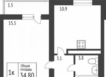 1-комнатная квартира, 34.80-Кв.м.